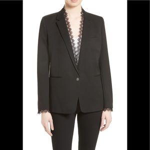 The Kooples Jackets & Coats - The Kooples Black Stretch Smoking Jacket Blazer